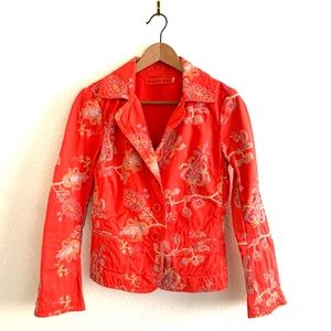 Johnny Was Blazer Embroidered Floral 3Button Coral